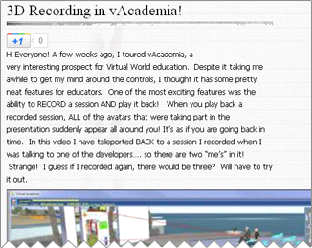 3D Recording in vAcademia!