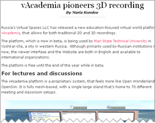 vAcademia pioneers 3D recording by Maria Korolov