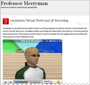 vAcademia Virtual World and 3D Recording